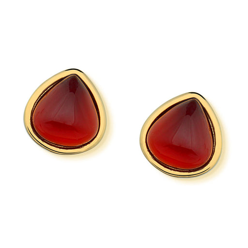 Apicum Gold Stud Earrings in Red Agate