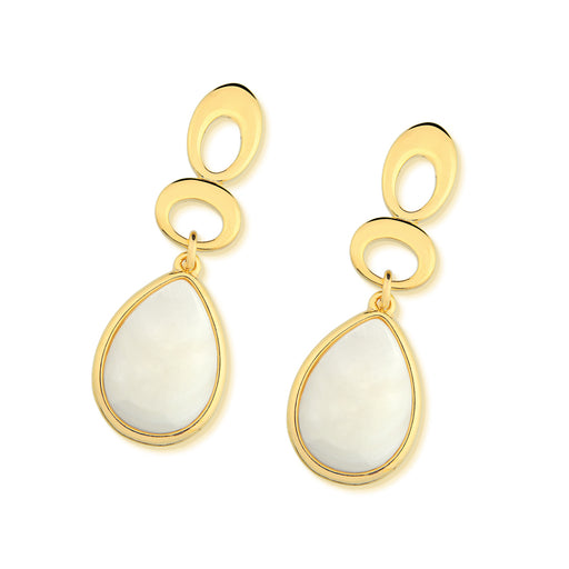 Taipu Gold Statement Earrings in Mother of Pearl