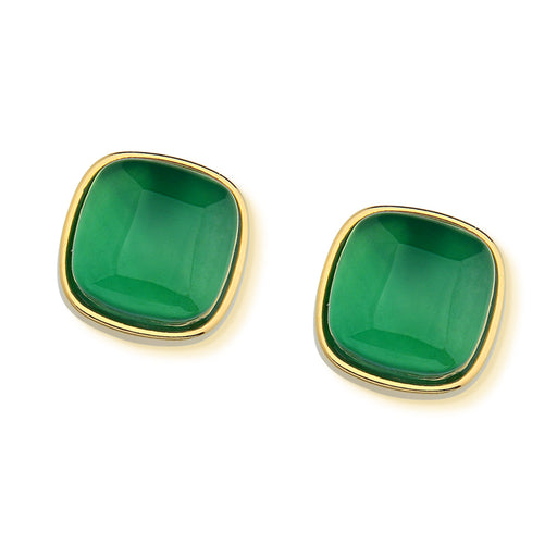 Imperatriz Gold Stud Earrings in Green Agate