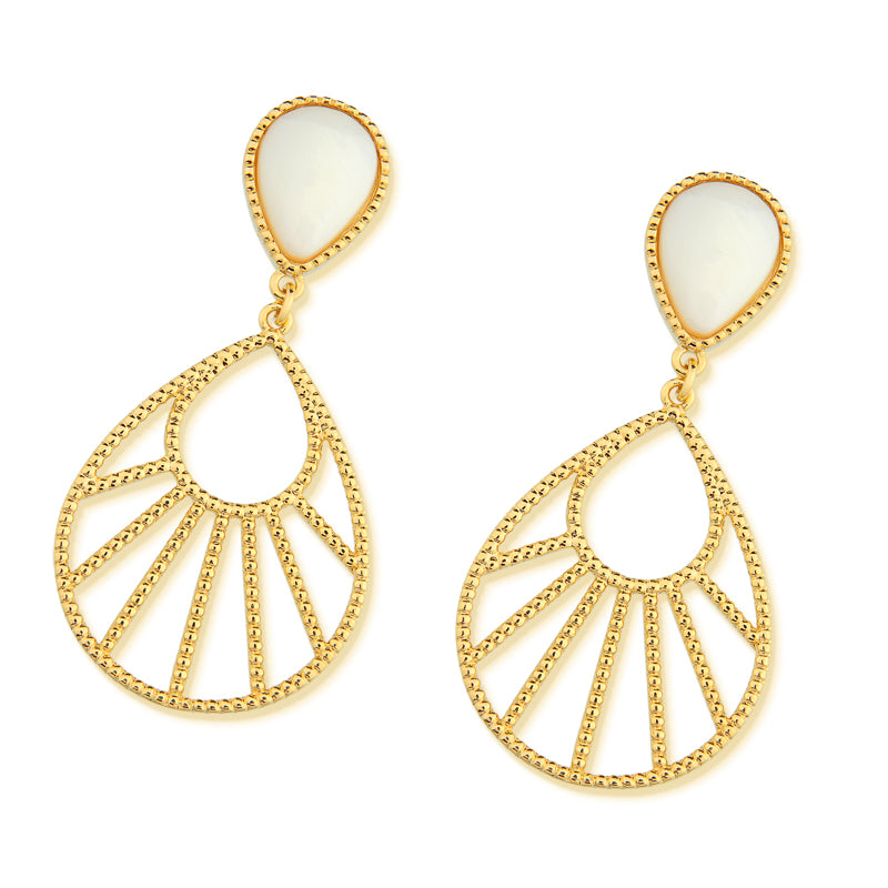 Arara Gold Statement Earrings in Mother of Pearl