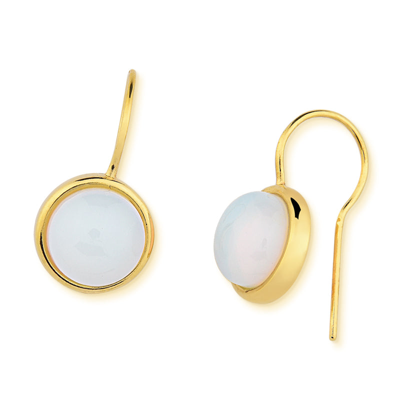Fatima Gold Drop Earrings in Opalina