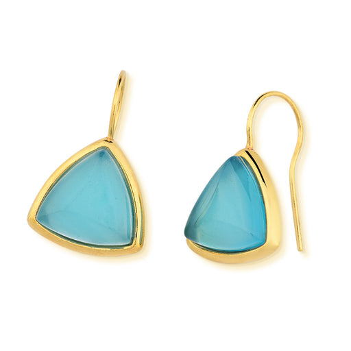 Sousa Gold Drop Earrings with Blue Agate