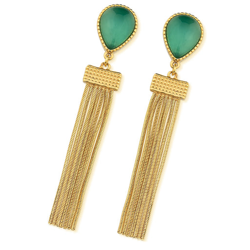 Vera Gold Statement Earrings in Green Agate