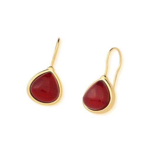 Jordoa Gold Drop Earrings in Red Agate