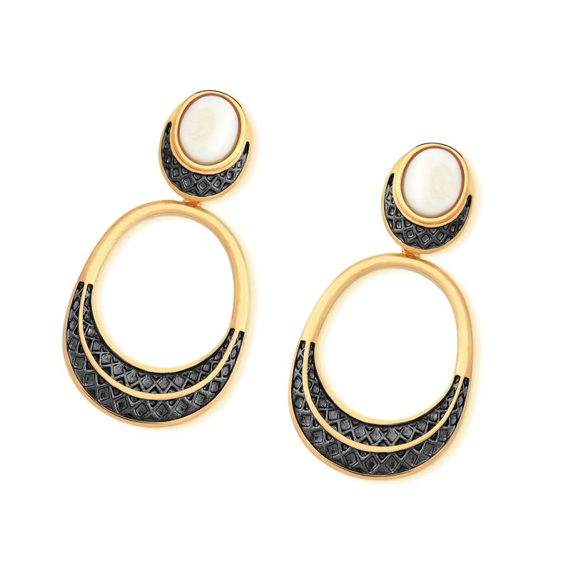 Juazeiro Gold Earrings in Mother of Pearl