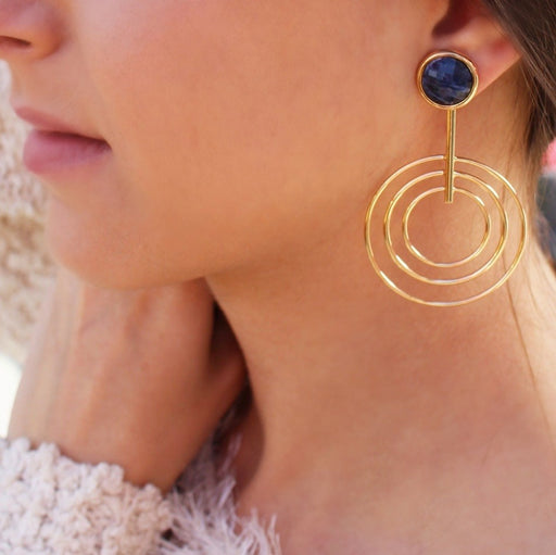 Betim Gold Statement Earrings in Sodalite