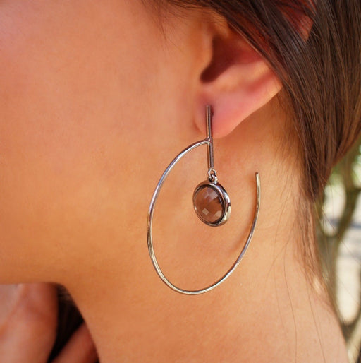 Tangara Gold Loop Earrings with Tigers Eye