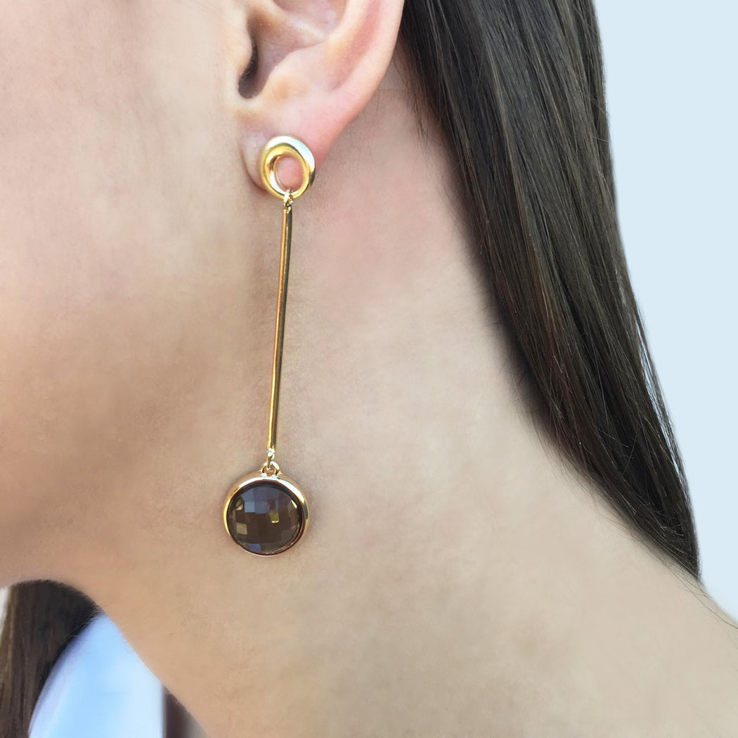 Palmas Gold Drop Earrings in Obsidian