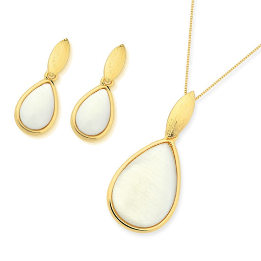 Rocas Gold Drop Earrings in Mother of Pearl