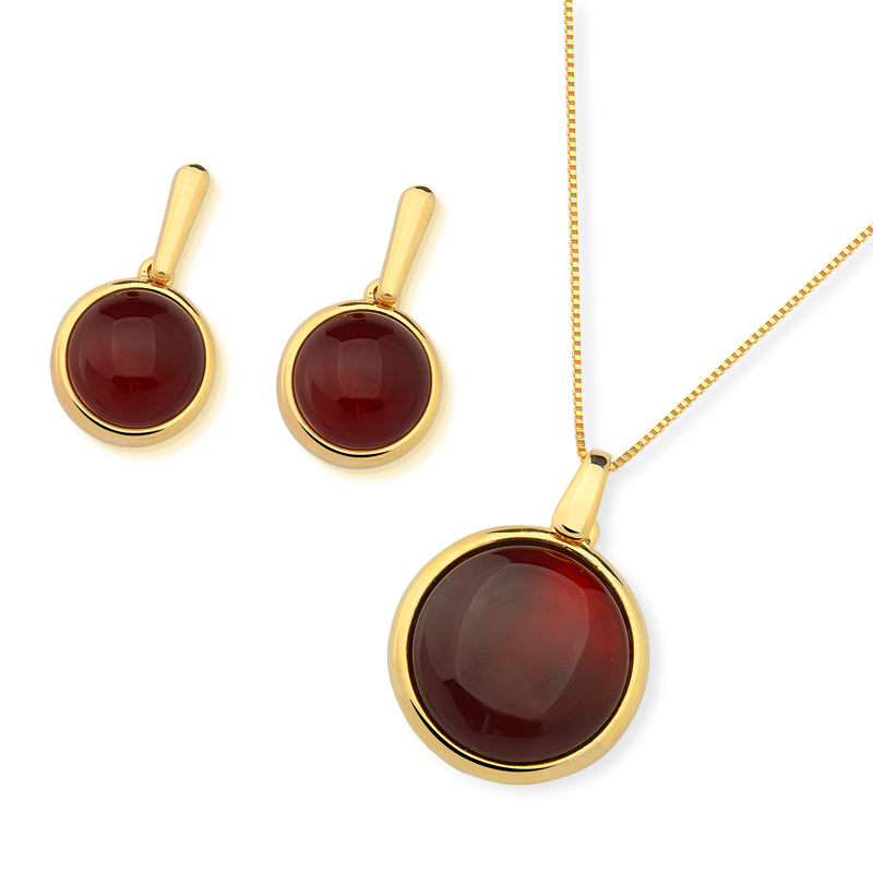 Maraba Gold Drop Earrings in Red Agate
