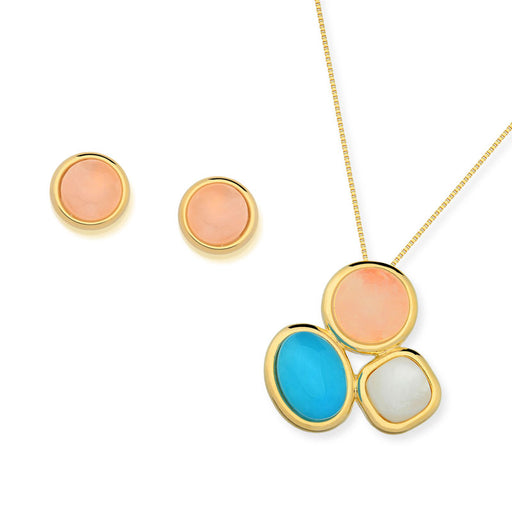 Abare Gold Tri-Stone Necklace In Clara Mix