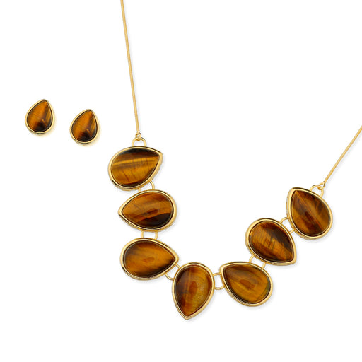 Itaiba Gold Stud Earrings in Tigers Eye