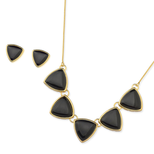 Aleixo Gold Triangle Stud Earrings in Black Agate