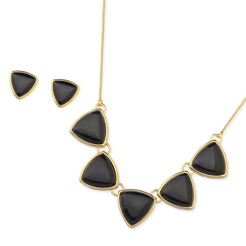Aleixo Gold Statement Necklace in Black Agate