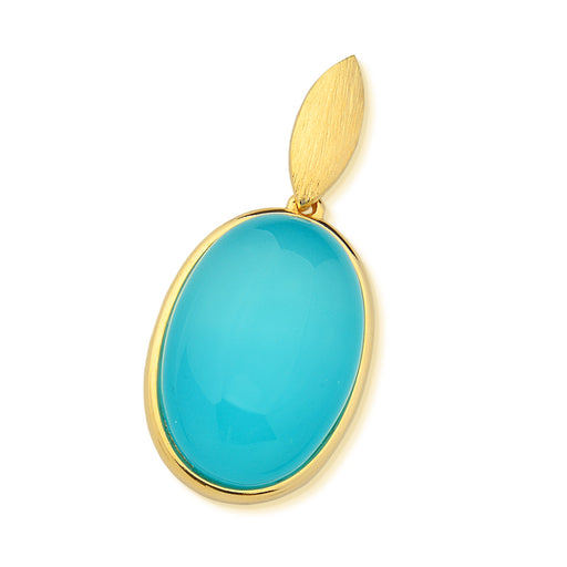 Oval Gold Pendant in Blue Agate