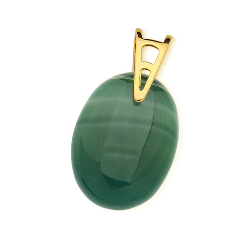 Labrea Oval Pendant in Green Agate