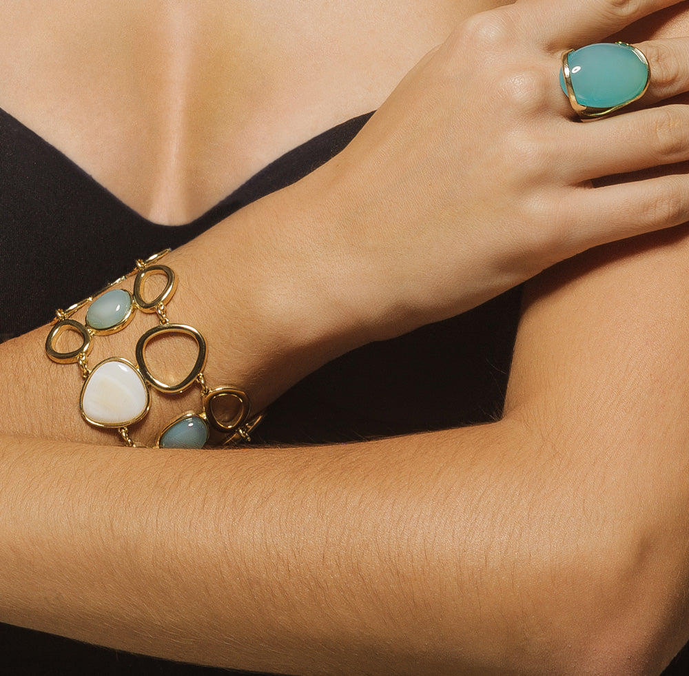 Anguera Gold Loop Bracelet with Blue Agate and Pearl