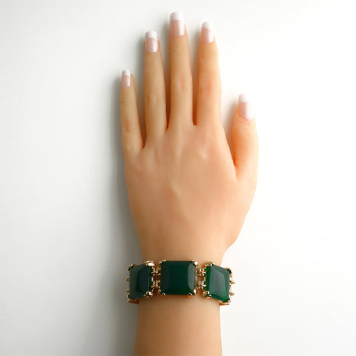 Itaja Gold Statement Bracelet in Green Agate