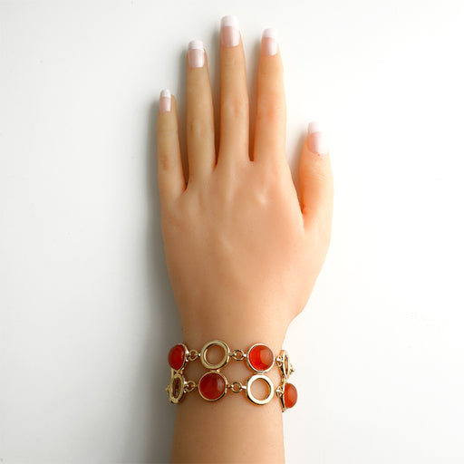 Lira Gold Link Bracelet in Red Agate
