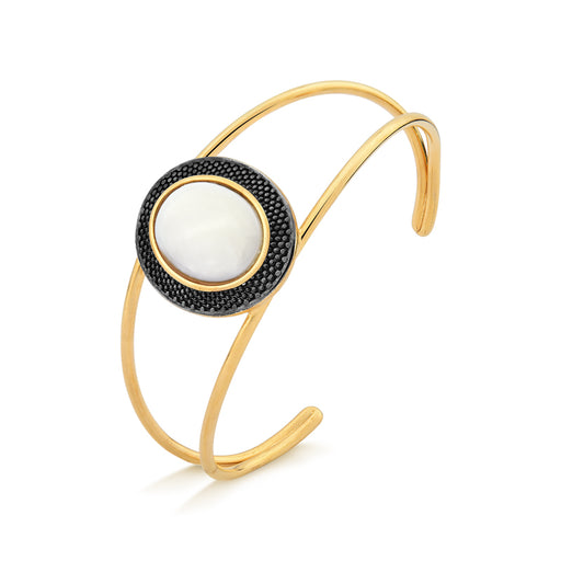 Japuira Gold Cuff Bracelet in Mother of Pearl