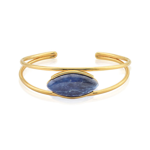Oval Gold Cuff Bracelet in Sodalite