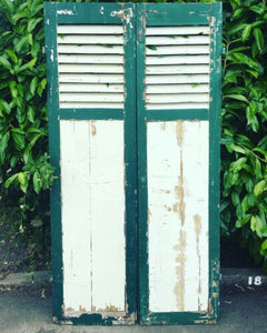 Chippy Paint Fine Pair of French Antique Window Shutters Original Green & Cream