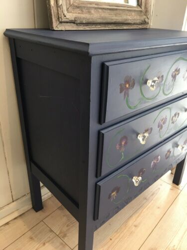 Pretty Midcentury Chest Of Drawers Handpainted Pansy Flowers