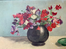 "Load image into Gallery viewer, ""Sweetpeas"" French Signed Original Oil on Canvas Painting - Original Frame"