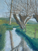 Load image into Gallery viewer, French Original Oil on Canvas - Tree over River - Midcentury Painting
