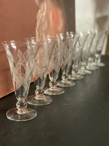 French Antique Champagne Flutes 1930's SET of 8