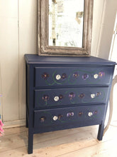 Load image into Gallery viewer, Pretty Midcentury Chest Of Drawers Handpainted Pansy Flowers
