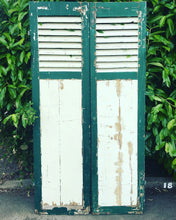 Load image into Gallery viewer, Chippy Paint Fine Pair of French Antique Window Shutters Original Green & Cream