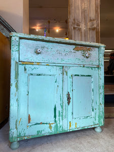 Rustic Green Painted Country Pine Cupboard
