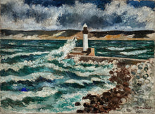 "Load image into Gallery viewer, ""Phare"" Original French Vintage Oil Painting on Canvas - Signed"
