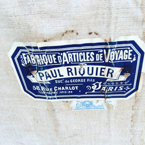 Stunning French Antique Leather Trunk - interesting labels