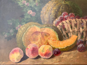 French Antique Oil Painting Still Life Fruit A.Mery 1885