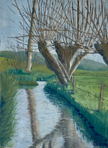 French Original Oil on Canvas - Tree over River - Midcentury Painting