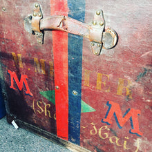 Load image into Gallery viewer, Stunning French Antique Leather Trunk - interesting labels