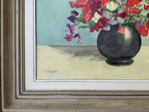 """Sweetpeas"" French Signed Original Oil on Canvas Painting - Original Frame"
