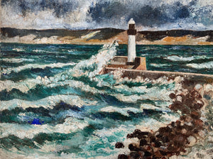 """Phare"" Original French Vintage Oil Painting on Canvas - Signed"