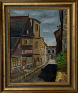 French Original Oil Painting In Frame Dated 1977