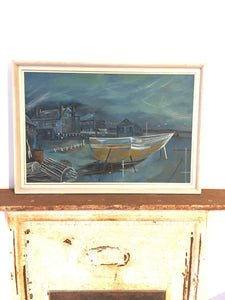 Canadian Oil Painting of Boat Harbour Scene Signed
