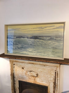 "Mid century print ""Waves"" Picture Original Frame"