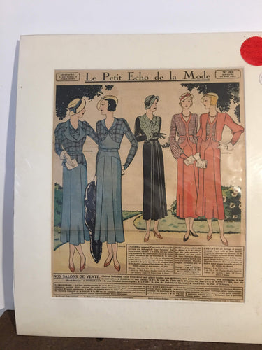 Original 1930's French Fashion Magazine - La Petit Echo de la Mode - Mounted