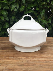 Unusual Square White Porcelain French Antique Soup Tureen Soupiere