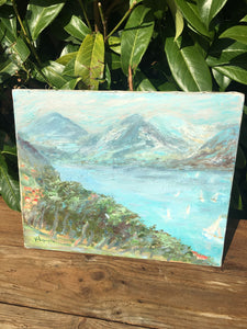 "Original French Vintage Oil Painting on Canvas"" Annecy"" France"