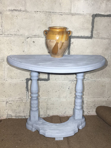 Pretty Painted Vintage Demi Lune Hall Console Side Table