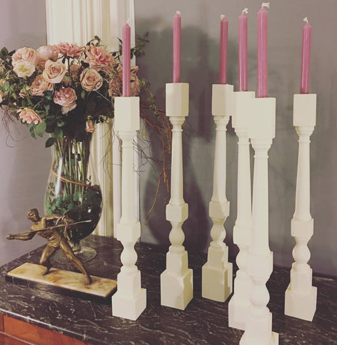 UPCYCLED CANDLESTICKS - Antique Wood Pieces - Beautiful - White - Wooden Dinner - PAIR
