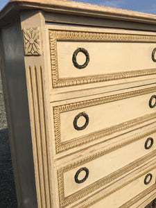 French Antique Chest Of Drawers. Original Paint. Marble Top. Very Pretty