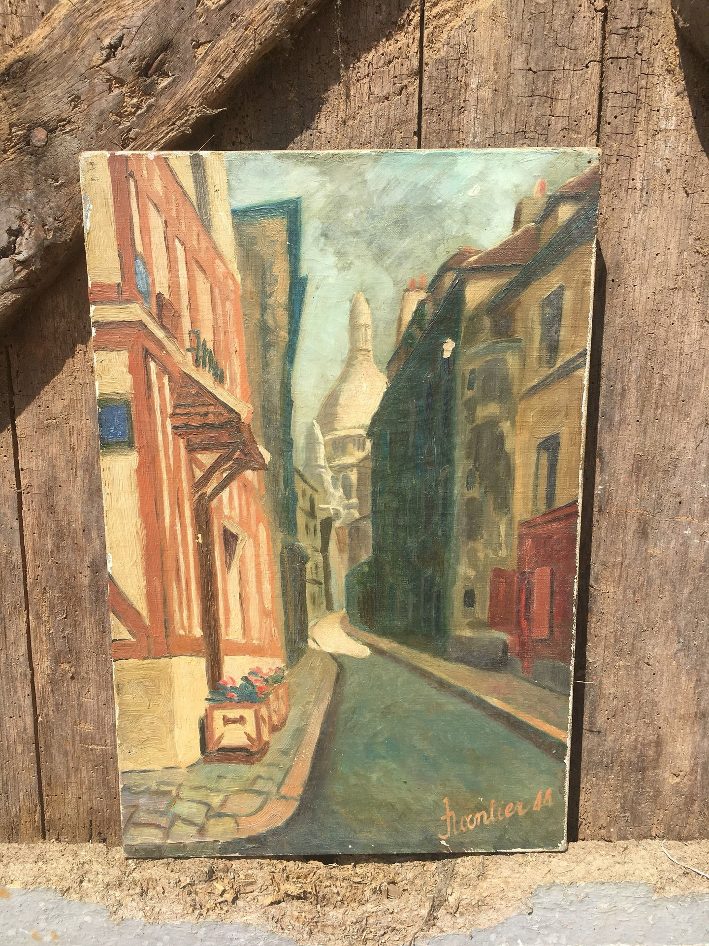 VINTAGE FRENCH Oil Painting on Canvas Dated 1944 Montmartre, Paris Scene MIDCENTURY